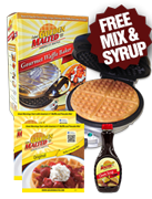 Golden Malted Gourmet Waffle Baker + 2 Free Pouches of Original Mix & Classic Syrup <br> (Over a $20 Value!)