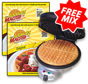 Golden Malted Gourmet Waffle Baker + 2 Free Pouches of Original Mix <br> ($20 Value)