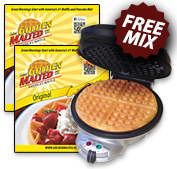 Golden Malted Gourmet Waffle Baker + 2 Free Pouches of Original Mix